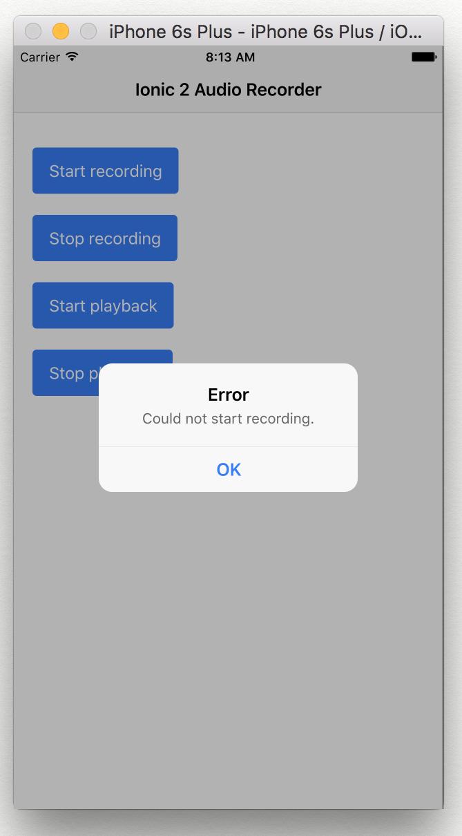 Create an audio recorder app using Ionic 2