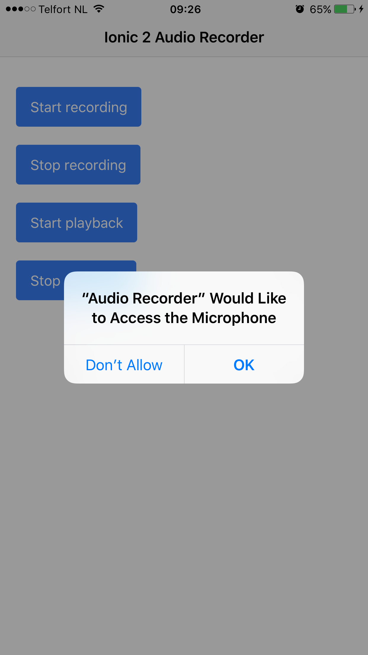 Request microphone access on iPhone